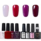Elite99 Esmaltes Semipermenentes para Uñas 8pcs Kit con Base Top Coat Primer 03