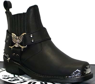 grinders mens black biker classic style cowboy boots eagle lo real western leather boots mens. Black Bedroom Furniture Sets. Home Design Ideas