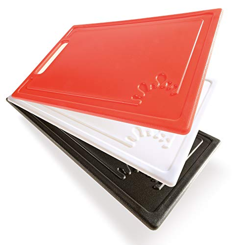 Schneidebrett Set Kunststoff 3farbig - Ermöglicht in jeder Küche sauberes und hygienisches Arbeiten - 3 Stück Kunststoff Schneidebretter Made in Europe - Brett Set 1 x rot 1x schwarz 1 x weiß