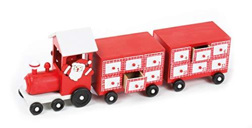 CREOFANT Calendrier de l'Avent Locomotive avec Train en Bois avec 24 recharges à remplir soi-même Cadeau de Noël