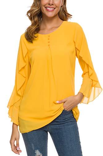 ANGGREK Damen Chiffon Blusen Sommer 3/4 Arm V-Ausschnitt Asymmetrisch Langarm Tunika Shirt (2XL, Gelb) -