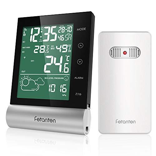 Estación meteorológica por radio con sensor exterior, digital higrómetro interior y exterior, termómetro...