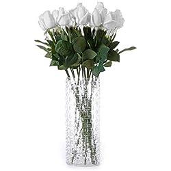Jushi Kunstblumen mit Rosenblüten, Latex, für Zuhause, Hochzeit, Party, 10 Stück