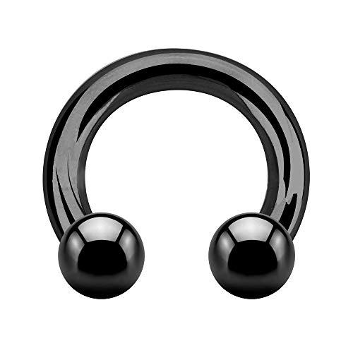 Treuheld® | Großer Hufeisen Piercing Ring | 2,5mm x 10mm | Kugeln 6mm | Chirurgenstahl | Schwarz | Circular Barbell | Intim, Ohr, Nase, Brustwarze