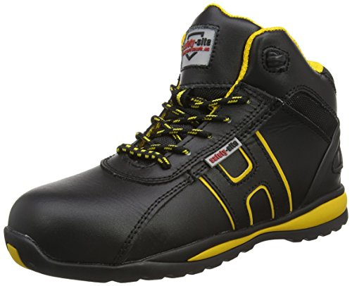 Steel Toe Suede Leather - Unisex Work Safety Trainer - EN Tested - SRA Rated Black / Yellow 7 UK