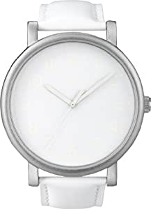 Timex Men's Quartz Watch with White Dial Analogue Display and White Leather Strap T2N345PF