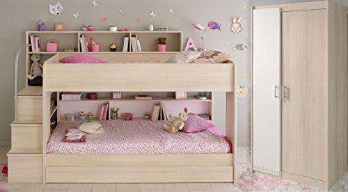 Kinderzimmer Twin 41 Akazie Etagenbett mit Bettkasten Kleiderschrank Bett Schrank Hochbett