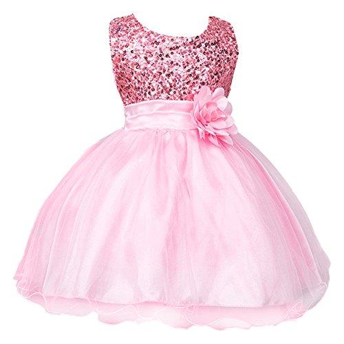 IWEMEK Mädchen Kinder Mit Kleider Pailletten Blumenmädchenkleider Hochzeitskleid Brautjungfern Kleid Prinzessin Hochzeit Abendkleid Geburtstag Kurzes Kleid Festzug Ballkleid Rosa - Mädchen Dress Rosa Fancy