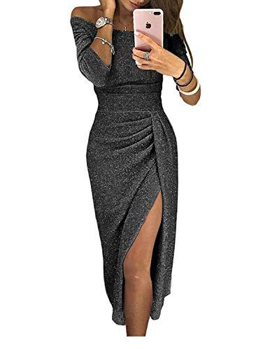 YIPIN Vestidos de Fiesta Mujer Elegante División Lápiz sin Tirantes Ceremonia Boda Cóctel Noche,Negro,L
