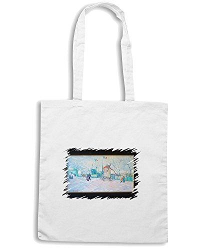 T-Shirtshock - Borsa Shopping TDA0083 van gogh36 veduta a montmatre con bandiere Bianco