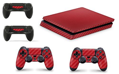 Gizmoz n Gadgetz GNG Adesivi in Vinile per PS4 Slim con Il Logo di Carbon Rosso 3 per Console E per 2X Controllers