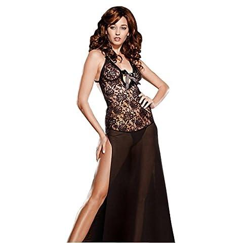 Wunhope Femme lingerie Sexy Erotique en Spitze de Noir Ouverte Bustiers Perspective Push up Avec G-String Jupe de sommeil Bodydolls Longue-Grande Taille S-6XL (3XL)