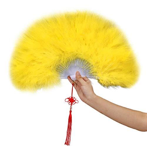 2 Paket Womens Vintage Style Faltfächer Handheld Flapper Feather Hand Fan Hochzeit Fan für Kostüm Halloween Tanzparty Tea Party Variety Show