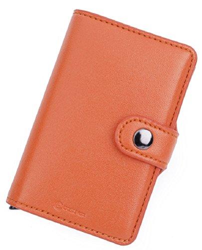 RFID Carte de crédit Titulaire de Automatique Pop-up en Aluminium Blocage Étui en Cuir Entreprise Slim Mini Porte-Monnaie