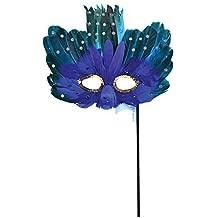 azul de mujer turquesa con Pluma Antifaz con PALO Baile De Máscaras CARNAVAL Mardi Gras nuevas años Fiesta Accesorio para disfraz