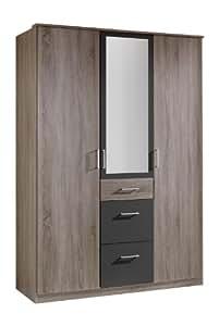 Wimex 130629, 135x 199x 58cm 3portes avec deux grands et un petit tiroir, 1miroir, façade et corps imitation chêne Montana/absetzungen lavafarbig
