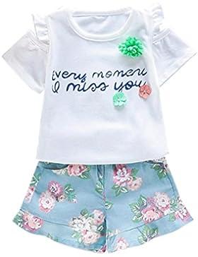 Ropa para chicas, RETUROM Nuevo estilo niña ropa cuadros lindo manga corta y pantalones cortos
