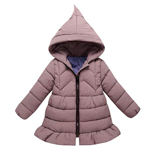 Babykleidung, ZHANSANFM Kinder Mantel Baby Jungen Mädchen Bowknot Unifarben Kapuzenjacken Winter Winddicht Warme Hoodie Gepolsterte Kleidung Kleinkind Winterjacke für 3-8 Jahre (5-6Jahr, Lila)
