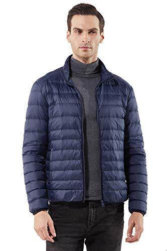 Herren Ultra-Light Steppjacke Kurze Daunen Jacke Übergangsjacke Mantel mit Stehkragen Gesteppt Tasche Fleece Warm Gefüttert Funktions Winter Daunenmantel Parka,Marine Blau,M(Etikett XL) (Gesteppte Jacke Mantel)