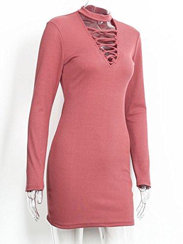 Simplee Apparel Damen Kleid Rot