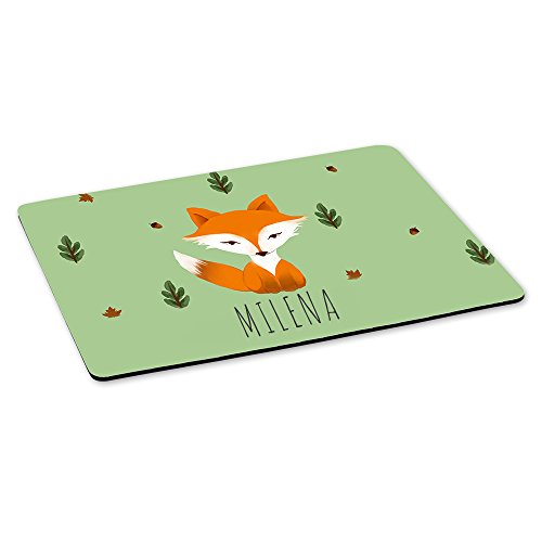 Gaming-Mousepad mit Namen Milena und Fuchs-Motiv | Gamer-Mousepad | Mausmatte | Mauspad