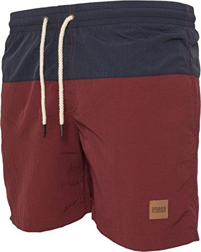 Urban Classics Herren und Jungen Badehose Badeshorts Block Swim Shorts in angesagten Farben mit Netz Innenslip, Mehrfarbig (nvy/burgundy 675)