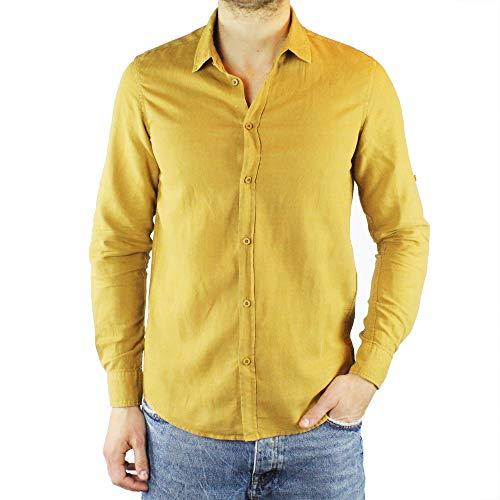 Ciabalù camicia uomo lino slim fit senape manica lunga collo francese estiva serafino sartoriale casual spiaggia s m l xl xxl (m)