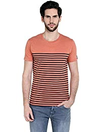 Cult Fiction Comfort Fit Round Neck Peach Marl Color Half Sleeves T-shirt For Men