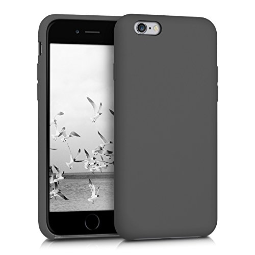 Apple Gummi Iphone (Hülle für Apple iPhone 6 / 6S - TPU Silikon Backcover Case Handy Schutzhülle - Cover Schwarz matt)