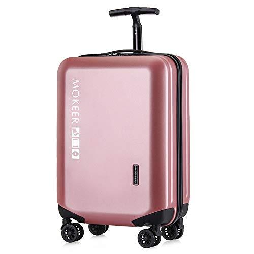 Koffer Explosionsgeschützte Zipper Einzel Rod Universal-Rad Trolley-Kasten-Gepäck-Kasten Boarding Koffer Mehrfarben Optional Carry-Ons Koffer (Farbe : Rose Gold, Größe : 22Inch) -