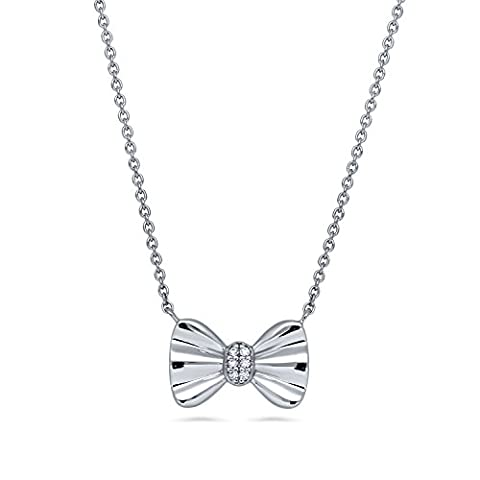 BERRICLE Rhodium Plated Sterling Silver Cubic Zirconia CZ Bow Tie Pendant Necklace 16