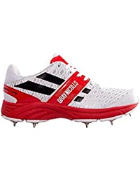 GRAY-NICOLLS Ceinture de Cricket Chaussures Atomic Full Spike Junior – Blanc/Rouge/Noir Taille 3