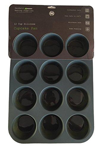 Molde / Bandeja de Silicona para 12 Magdalenas / Muffins / Cupcakes, Gris Oscuro