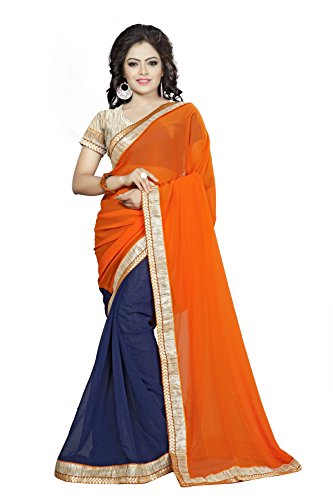 Vedant Vastram Women's Georgette Embroidered Saree With Blouse Piece (Orange & Blue...