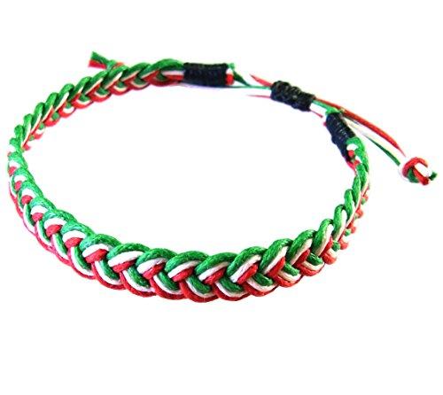 artisan-handgefertigt-armband-unisex-freundschaftsarmbander-grun-weiss-rot-baumwolle-schnur