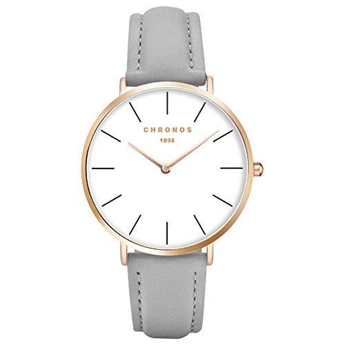 XLORDX Classic Damen Ultra Dünne Elegant Analoge Quarz Armbanduhr Quarzuhr und Klassisch Grau Leder Gold
