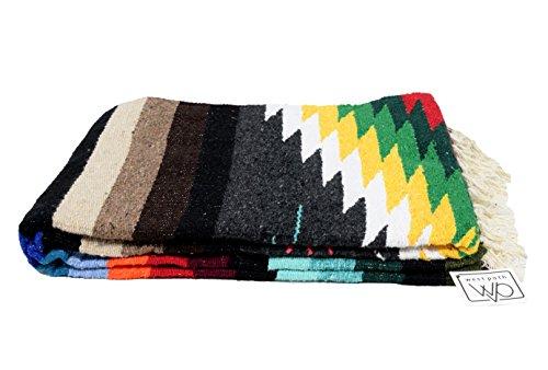 Mexikanische Yoga-Decke, Design Navajo, Azteken, Karos, extra groß, dick, Sarape mit Streifen