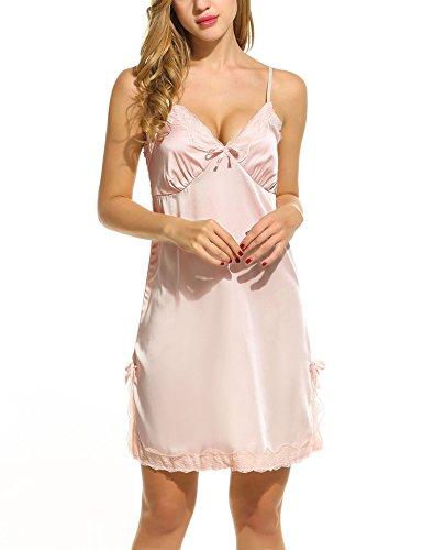 Unibelle Damen Nachthemd Ärmellose Baumwolle Spitzesaum Nachtkleid Sleepshirt Lounge Kleid Negligee A-Line