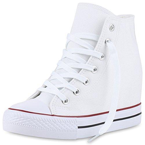 SCARPE VITA Damen Sneakers Keilabsatz Sneaker-Wedges Stoffschuhe Schnürer 160561 Weiss Weiss 40 (Keil-sneaker Schuhe)