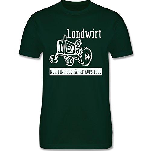 Landwirt - Nur ein Held geht aufs Feld - Herren Premium T-Shirt Dunkelgrün