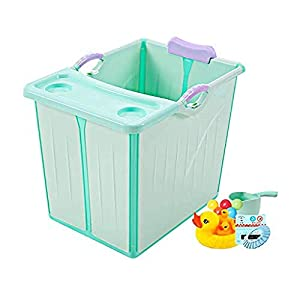 A literary youth Kids Portable Folding Bathtub,Children Folding Bath Tub Portable Baby Bathtub Can Sit And Lie Down Insulation Side Drainage Plastic Home Newborn Swimming Pool Blue @Blue+a