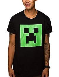 Minecraft Creeper Phosphorescent Gaming visage foncé T-shirt avec effet de lumière noire - XL