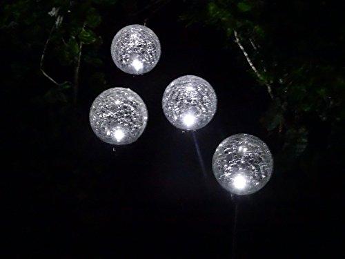 8er Set Solar LED Leuchte Solar Gartenbeleuchtung - hochwertige exklusive Gartenbeleuchtung - Solarleuchte Solarlampe XL 8 cm Kugeldurchmesser - mit 2 LEDs, wahlweise Betrieb in weiß oder Farbwechsel
