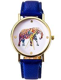 Los hombres reloj de correa de cuero de elefante casual y las parejas de las mujeres forman forma femenina , deep blue