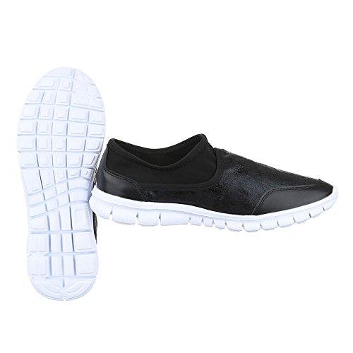 Ital-Design Damen Schuhe, C27-11-1, Halbschuhe Slipper Freizeitschuhe Schwarz 50-M52212A