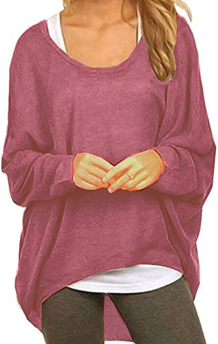 Meyison Damen Lose Asymmetrisch Sweatshirt Pullover Bluse Oberteile Oversized Tops T-Shirt Lila Rot-S (Tunika Bluse Top)