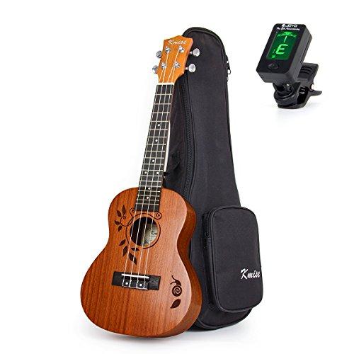 Ukulele Konzert Sapele Ukelele Uke 23 Zoll 4 String Hawaii Gitarre mit Tasche Tuner von Kmise (Ukulele Beste Tuner)