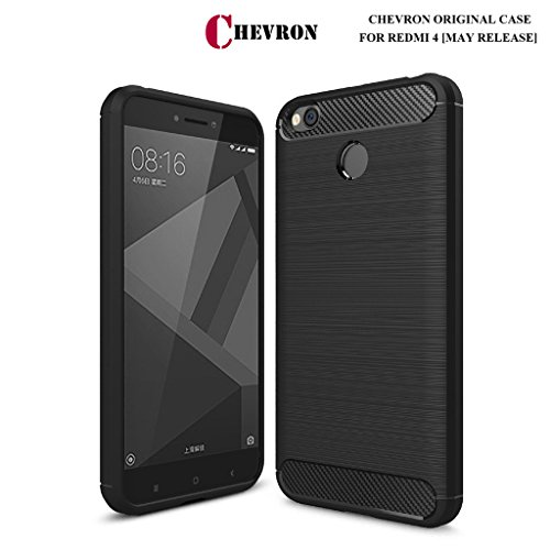 Xiaomi Redmi 4 [May 2017 Launch] Original Back Cover Case, Rugged Armor Shock Proof TPU Case for Mi Redmi 4 Mobile Premium Protection, Metallic Black by Chevron