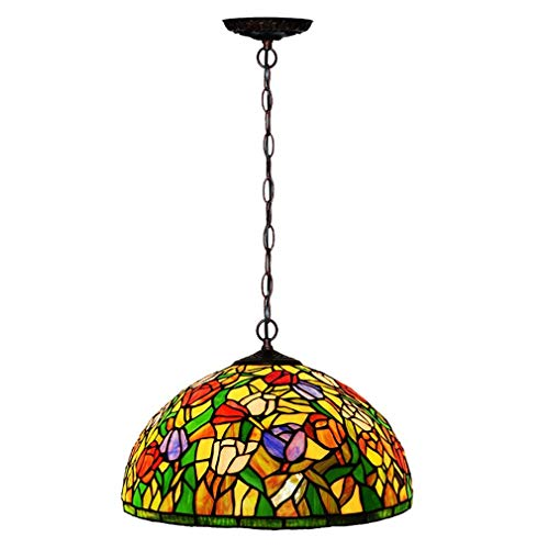 Tiffany Stil Pendelleuchten, 16 Zoll Europäischen Stil Kreative Tulpe/Glasmalerei Einzigen Kronleuchter/Hängeleuchte, Dekorative Pendelleuchte für Bar, Esszimmer, BOSS LV -