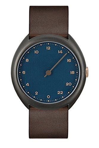 slow O 14 - Dark Brown Vintage Leather, Anthracite Case, Blue Dial Analog Leder Dunkelbraun slow O 14 -